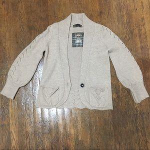 Zara Woman One Button Cardigan. In Khaki/Tan.